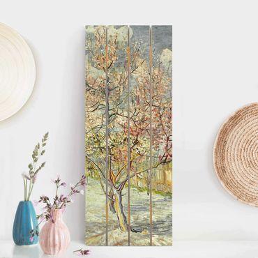 Holzbild - Vincent van Gogh - Blühende Pfirsichbäume - Hochformat 5:2