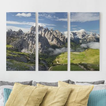 Leinwandbild 3-teilig - Italienische Alpen - Hoch 1:2
