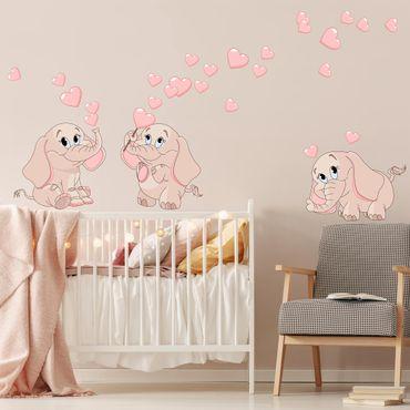 Wandtattoo - Drei rosa Elefantenbabies mit Herzen