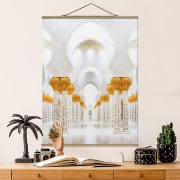 Stoffbild mit Posterleisten - Moschee in Gold - Hochformat 4:3