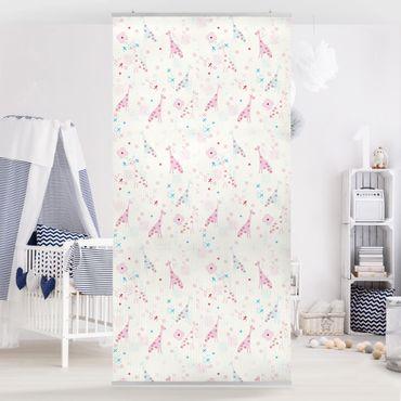 Raumteiler Kinderzimmer - Dreaming Giraffe 250x120cm