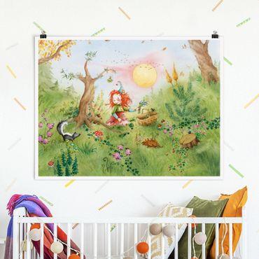 Poster - Frida sammelt Kräuter - Querformat 3:4