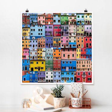 Poster - Venezianische Häuser - Quadrat 1:1