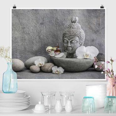 Poster - Zen Buddha, Orchideen und Steine - Querformat 3:4