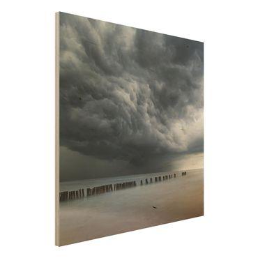 Holzbild - Sturmwolken über der Ostsee - Quadrat 1:1