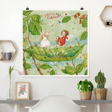 Poster - Erdbeerinchen Erdbeerfee - Trampolin - Quadrat 1:1