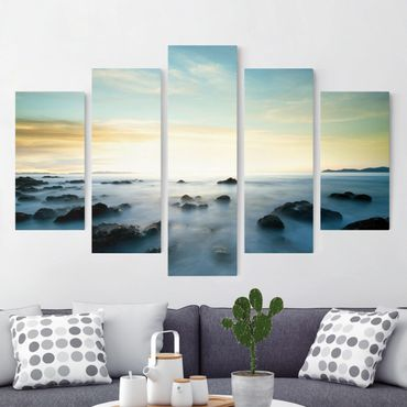Leinwandbild 5-teilig - Sonnenuntergang über dem Ozean