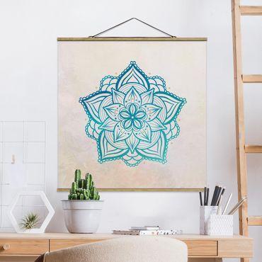 Stoffbild mit Posterleisten - Mandala Hamsa Hand Lotus Set gold blau - Quadrat 1:1