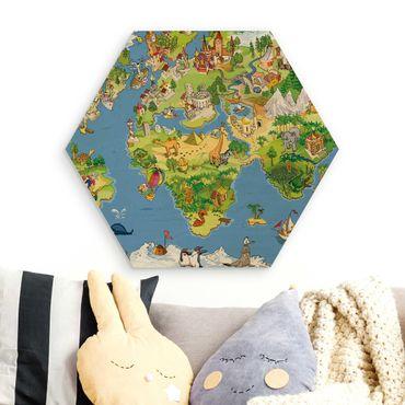 Hexagon Bild Holz - Great and funny Worldmap