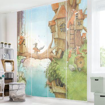 Schiebegardinen Set - Wassili und Familie Fuchs - Flächenvorhänge