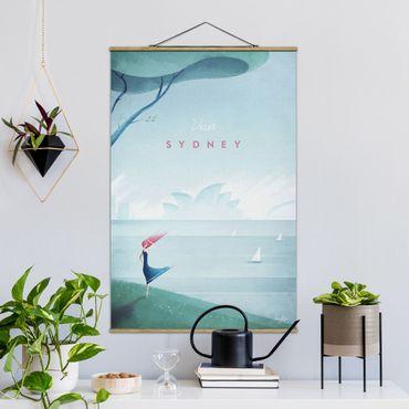 Stoffbild mit Posterleisten - Reiseposter - Sidney - Hochformat 3:2