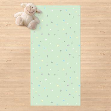Vinyl-Teppich - Bunte gezeichnete Pastelldreiecke auf Grün - Hochformat 1:2
