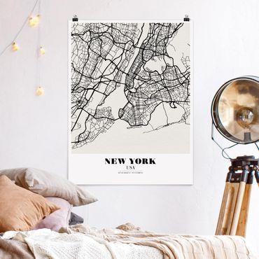 Poster - Stadtplan New York - Klassik - Hochformat 3:4