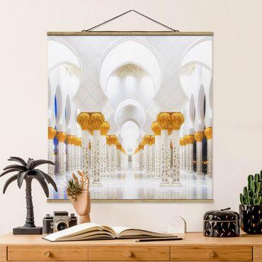 Stoffbild mit Posterleisten - Moschee in Gold - Quadrat 1:1