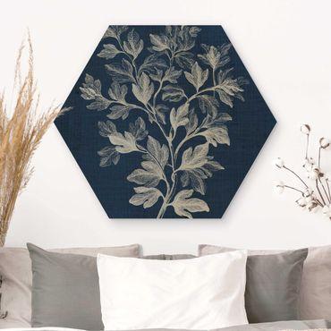 Hexagon Bild Holz - Denim Pflanzenstudie I