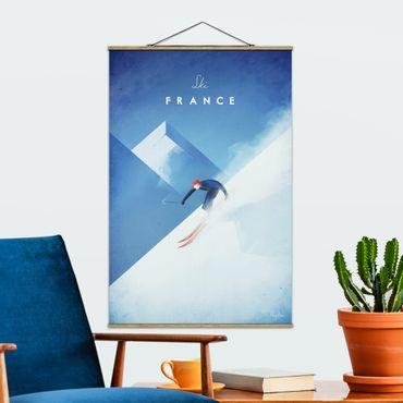Stoffbild mit Posterleisten - Reiseposter - Ski in Frankreich - Hochformat 3:2