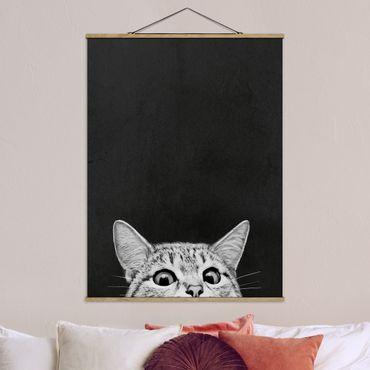 Stoffbild mit Posterleisten - Laura Graves - Illustration Katze Schwarz Weiß Zeichnung - Hochformat 3:4