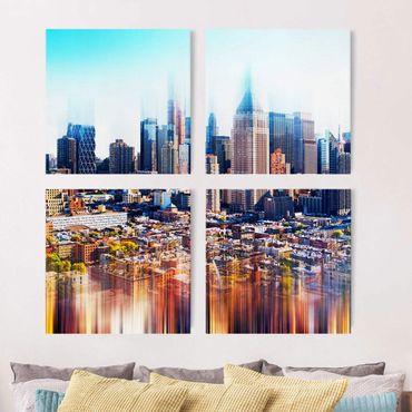 Leinwandbild 4-teilig - Manhattan Skyline Urban Stretch