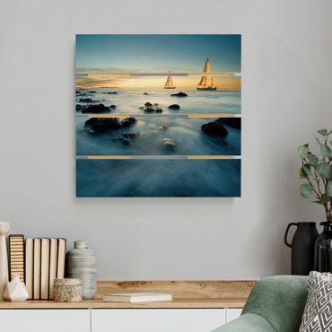 Holzbild - Segelschiffe im Ozean - Quadrat 1:1