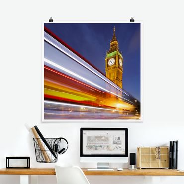 Poster - Verkehr In London am Big Ben bei Nacht - Quadrat 1:1