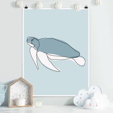 Poster - Schildkröte Line Art - Hochformat 4:3