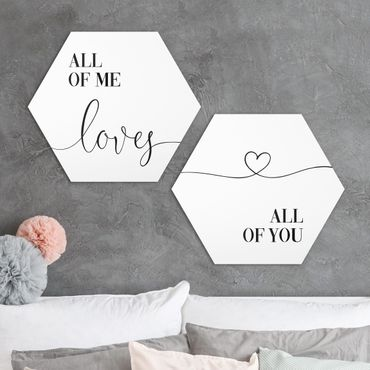 Hexagon Bild Forex 2-teilig - ALL OF ME LOVES ALL OF YOU