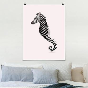Poster - Jonas Loose - Seepferdchen mit Zebrastreifen - Hochformat 3:4