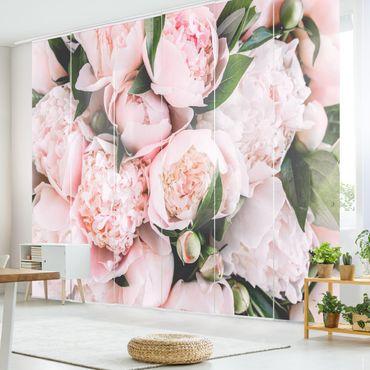 Schiebegardinen Set - Rosa Pfingstrosen mit Blättern - 6 Flächenvorhänge