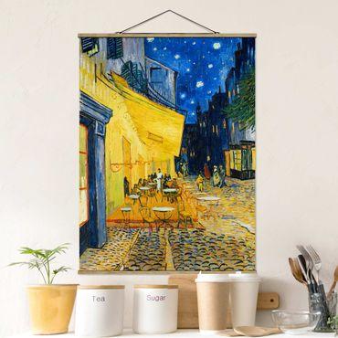 Stoffbild mit Posterleisten - Vincent van Gogh - Café-Terrasse in Arles - Hochformat 4:3