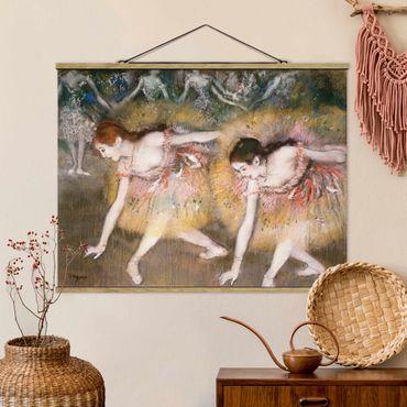 Stoffbild mit Posterleisten - Edgar Degas - Verbeugende Ballerinen - Querformat 4:3
