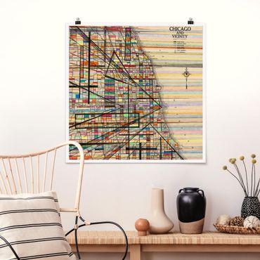 Poster - Moderne Karte von Chicago - Quadrat 1:1