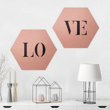 Hexagon Bild Alu-Dibond 2-teilig - Buchstaben LOVE Schwarz Set I