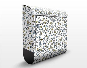 Briefkasten mit Zeitungsfach - Mille fleurs Blumenmuster - Briefkasten Blumen