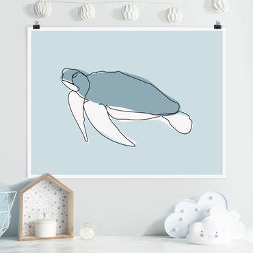 Poster - Schildkröte Line Art - Querformat 3:4