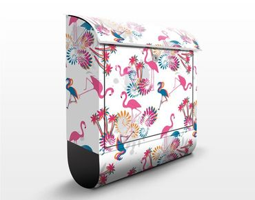 Briefkasten mit Zeitungsfach - Flamingo Design - Briefkasten mit Tiermotiv