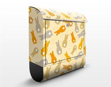 Briefkasten mit Zeitungsfach - Gelbes Hasen Muster - Briefkasten mit Tiermotiv