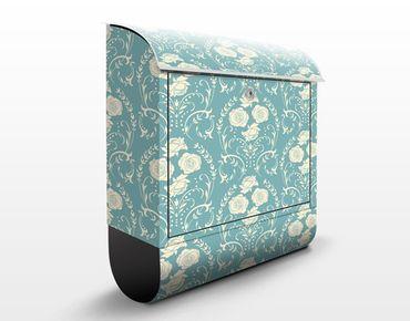 Briefkasten mit Zeitungsfach - Ornamentales Rosenmuster - Wandbriefkasten