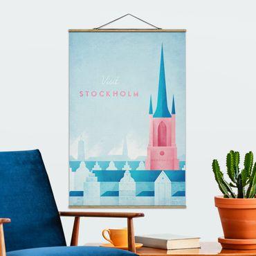 Stoffbild mit Posterleisten - Reiseposter - Stockholm - Hochformat 3:2