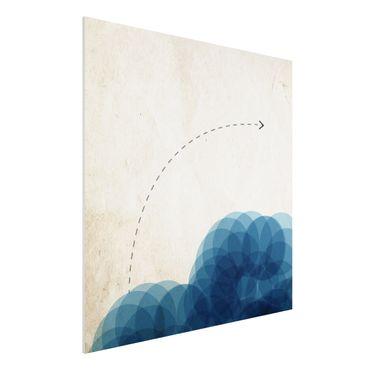 Forex Fine Art Print - Abstrakte Formen - Kreise in Blau - Quadrat 1:1