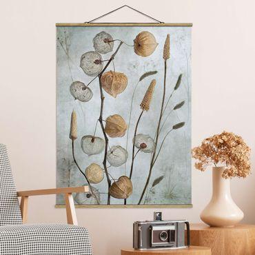 Stoffbild mit Posterleisten - Lampionfrüchte im Herbst - Hochformat 3:4