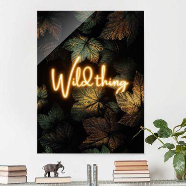 Glasbild - Wild Thing goldene Blätter - Hochformat 4:3