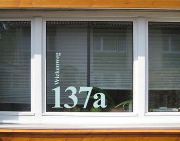 Fensterfolie - Fenstertattoo No.UL1032 WunschText Strasse und Hausnummer