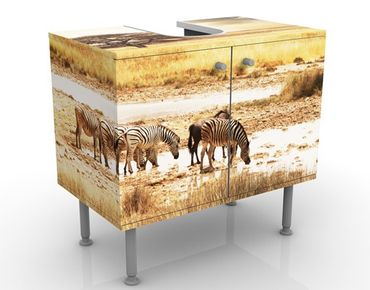 Waschbeckenunterschrank - Das Leben der Zebras - Badschrank