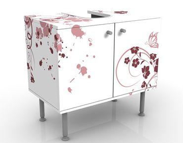 Waschbeckenunterschrank - Apricot Blossom - Blumen Badschrank Weiß