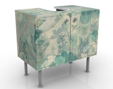 Waschbeckenunterschrank - Eisblumen - Vintage Badschrank Blau