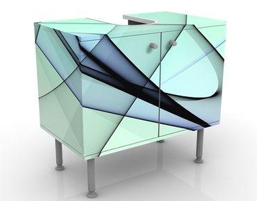 Waschbeckenunterschrank - Autumn Shapes - Badschrank Blau
