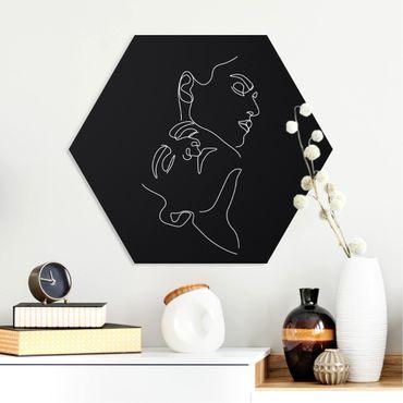 Hexagon Bild Forex - Line Art Frauen Gesichter Schwarz