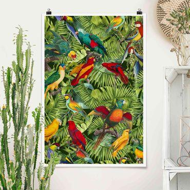 Poster - Bunte Collage - Papageien im Dschungel - Hochformat 3:2
