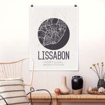 Poster - Stadtplan Lissabon - Retro - Hochformat 3:4