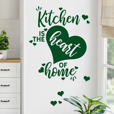 Wandtattoo - Kitchen is the heart of home